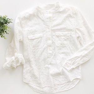 Loft Eyelet Popover Cotton Button Up Shirt